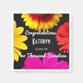 Personalized Floral Graduation Paper Napkin