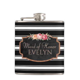 Personalized Floral Maid of Honor | Wedding Flask