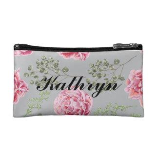 Personalized floral makeup bag