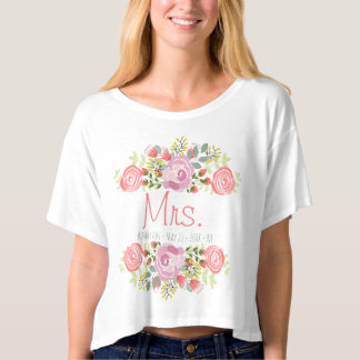 Personalized floral Mrs. T-shirt