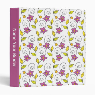 Personalized Floral Pattern On White Binders