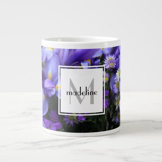 Personalized floral, purple iris, add name/initial large coffee mug