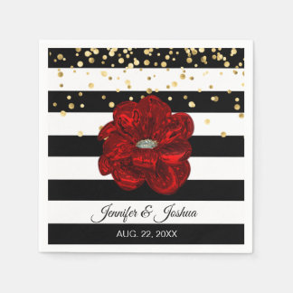 Personalized Floral Red Rose Gold Stripes Wedding Paper Napkin