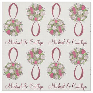 Personalized Floral Rose Bouquet Wedding Bride Fabric