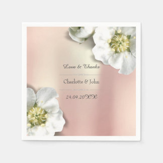 Personalized Floral Rose Gold Metallic White Disposable Napkins