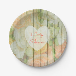 Personalized Floral Rustic Wood Baby Shower Plates