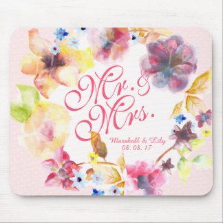 Personalized Floral Spring Wedding | Mousepad