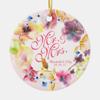 Personalized Floral Spring Wedding   Ornament