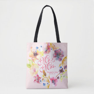 Personalized Floral Spring Wedding Tote Bag