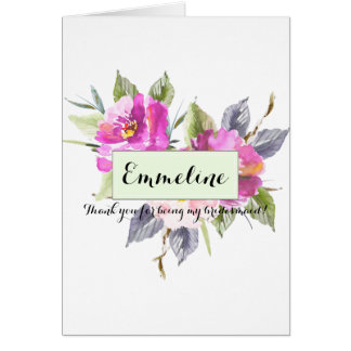 Personalized Floral Thank you bridesmaid Card
