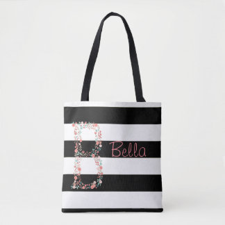 Personalized floral tote bag
