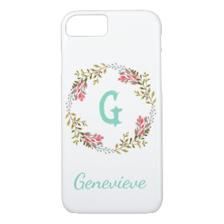 Personalized Floral Watercolor Initial Phone Case