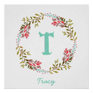 Personalized Floral Watercolor Initial Poster