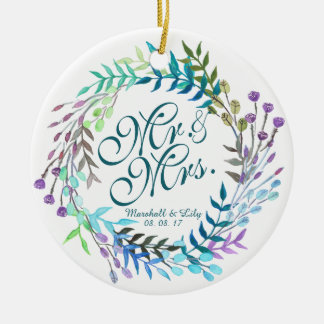 Personalized Floral Watercolor Wedding Ornament