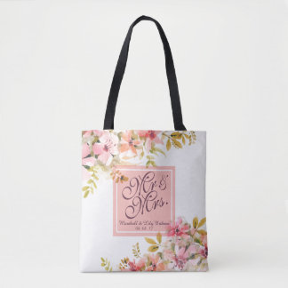 Personalized Floral Watercolor Wedding Tote Bag