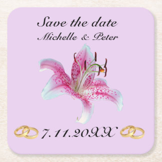 "Personalized Floral Wedding ""Save The Date"" Square Paper Coaster"