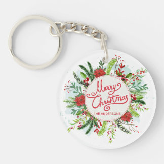 Personalized Floral Wreath Christmas Keychain
