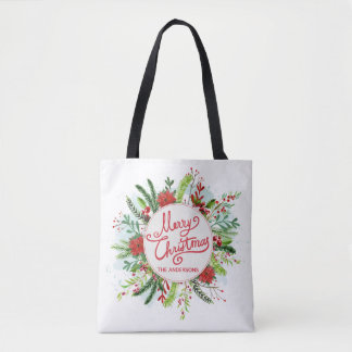 Personalized Floral Wreath Christmas Tote Bag