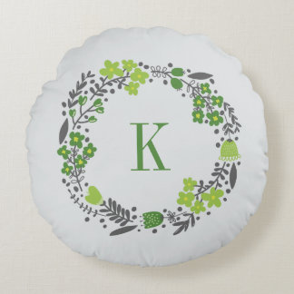 Personalized Floral Wreath Monogram Green Grey Round Pillow