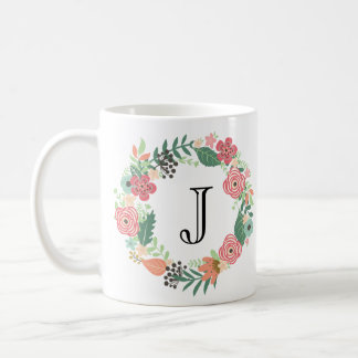 Personalized Floral Wreath Mug