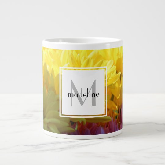 Personalized floral, yellow mums, add name/initial large coffee mug