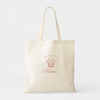 Personalized Flower Girl gift - Pink Crown Tote Bag