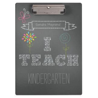 Personalized Flowers Chalkboard I Teach Clipboard