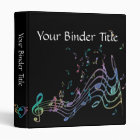 Personalized Flowy Rainbow Music Notes Binder