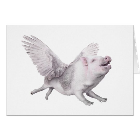 Personalized Flying Pig Birthday or Any Day Card