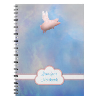 Personalized Flying Pig Notebook