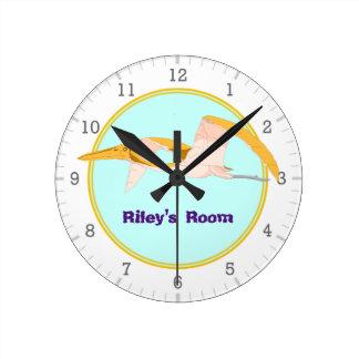 Personalized Flying Pterodactyl Dinosaur 1 Round Clock