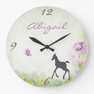 Personalized Foal and Butterfly Wall Clock