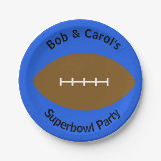 Personalized football blue superbowl paper plates
