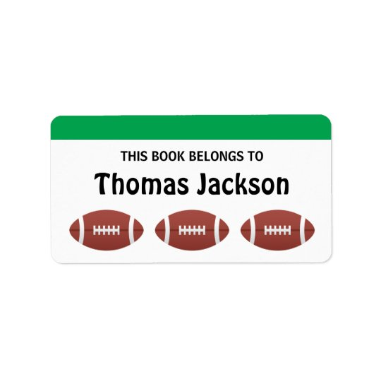 Personalized football cartoon bookplates for kids label