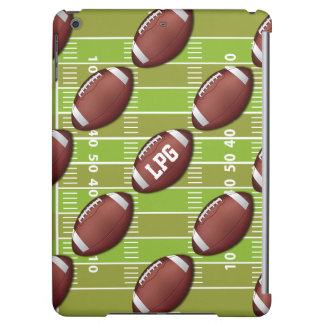 Personalized Football Pattern on Sports Field Cover For iPad Air