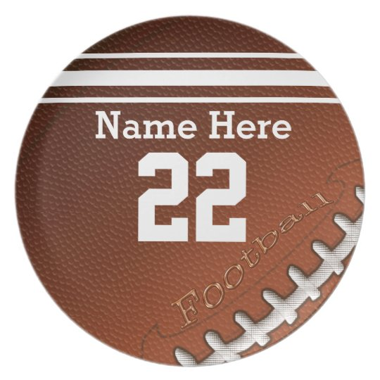 Personalized Football Plates His Name and NUMBER