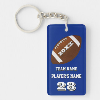 Personalized Football Team Gifts with 4 Text Boxes Keychain
