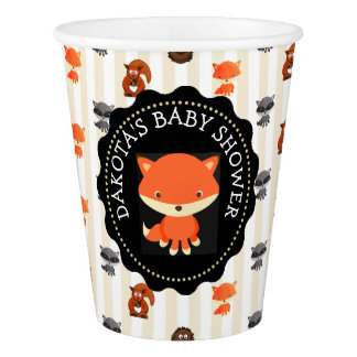 Personalized Forest Animal Fox Party Paper Cups