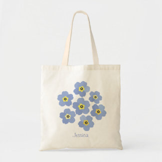 Personalized Forget me not blue flower Tote Bag