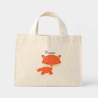personalized fox kid tote