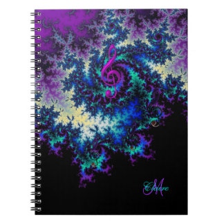 Personalized Fractal Music Clef Journal Notebook