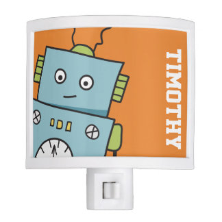 Personalized Friendly Blue Robot Nite Light