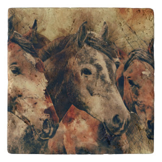 Personalized Friesian Horse Trivet