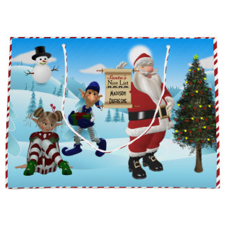 Personalized From Santa North Pole Large Gift Bag