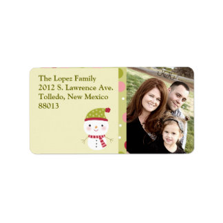 Personalized Frosty Snowman Polka Do Mailing Label
