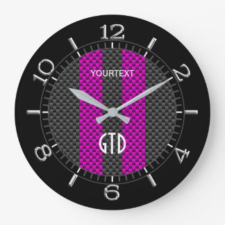 Personalized Fuchsia Carbon Style Racing Stripes Large Clock