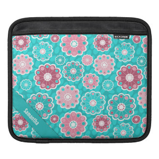 Personalized fun and stylish pink and aqua floral sleeve for iPads
