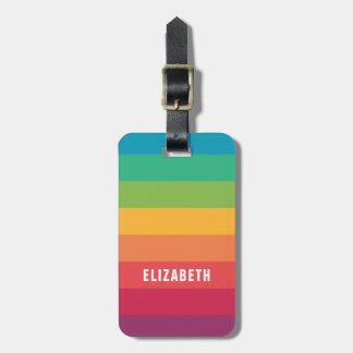 Personalized Fun Colorful Rainbow | Eye Catching Luggage Tag
