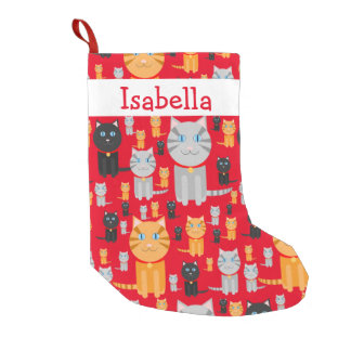 Personalized Fun Cute Orange, Gray, and Black Cats Small Christmas Stocking