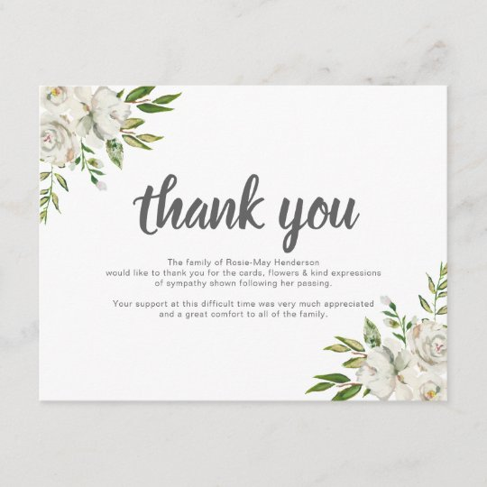 Personalized Funeral Thank You Note | Behreavement Card ...